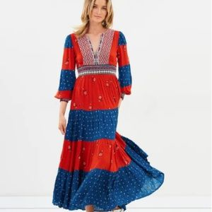 Free People NWT Starlight Patchwork Red Maxi Dress